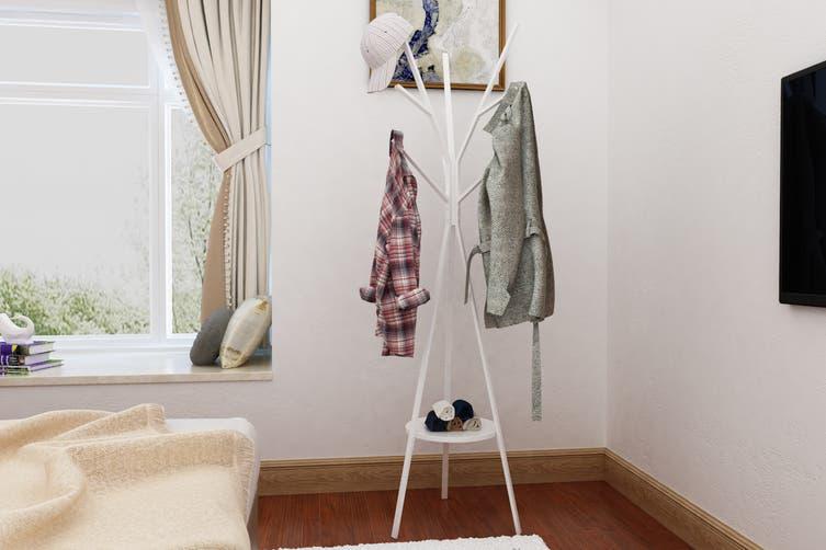 Ovela 9 Hook Coat Hanger Stand (White)