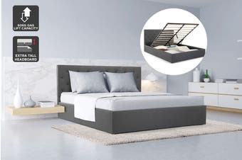 Shangri-La Bed Frame - Newport Gas Lift Collection (Charcoal Grey, Double)