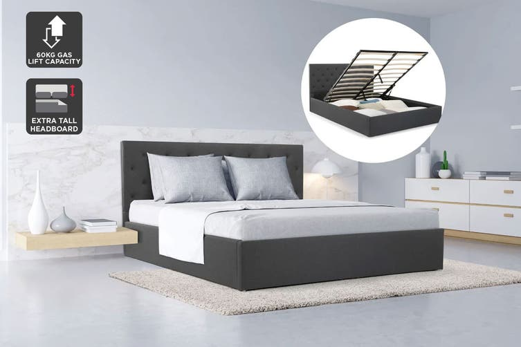 Shangri-La Bed Frame - Newport Gas Lift Collection (Charcoal Grey, Queen)