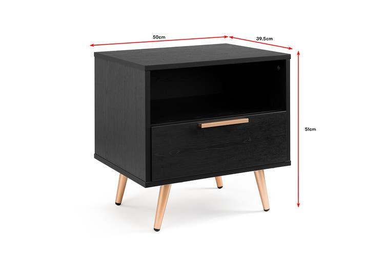 Shangri-La Bedside Table - Vienna Collection (Black/Gold)