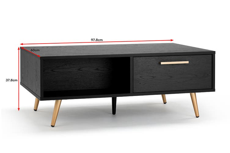 Shangri-La Coffee Table - Vienna Collection (Black/Gold)