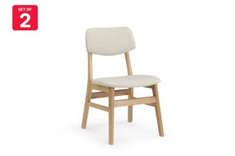 Shangri-La Set of 2 Anja Dining Chairs (Beige, Fabric)