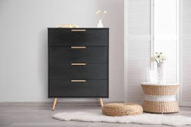 Shangri-La Chest of 4 Drawers - Vienna Collection (Black/Gold)