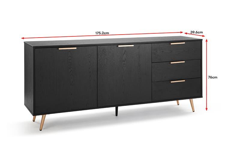Shangri-La 3 Drawer 2 Door Buffet - Vienna Collection (Black/Gold)