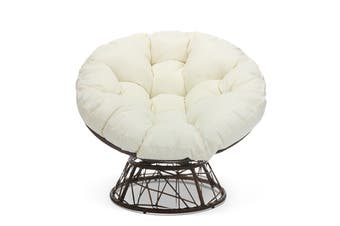 Shangri-La Papasan Swivel Wicker Outdoor Furniture Chair (Beige)