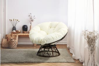 Shangri-La Papasan Swivel Wicker Chair (Beige)