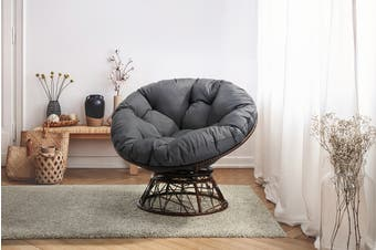 Shangri-La Papasan Swivel Wicker Chair (Grey)