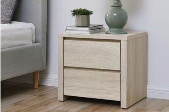 Shangri-La 2 Drawer Bedside Table - Alta Collection (Dusky Oak)
