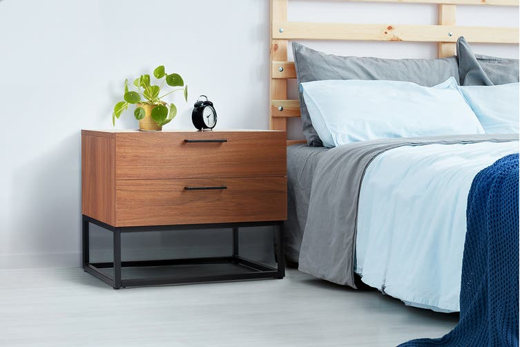 Shangri-La 2 Drawers Bedside Table - Dobson Collection (Walnut)