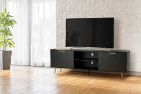 Shangri-La 2 Door TV Entertainment Unit - Vienna Collection (Black/Gold)