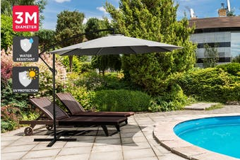 Shangri-La 3 Metre Cantilever Outdoor Umbrella with Bonus Protective Cover (Charcoal)