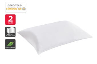 Set of 2 Trafalgar Luxury Two-Sided 100% Mulberry Silk Pillow Cases (White)