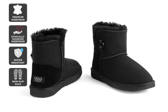 Outback Ugg Boots Mini Button - Premium Double Face Sheepskin (Black, 11M / 12W US)