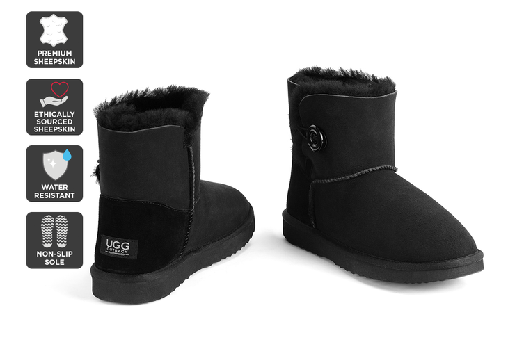 Outback Ugg Boots Mini Button - Premium Double Face Sheepskin (Black, 10M / 11W US)