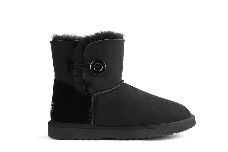 Outback Ugg Boots Mini Button - Premium Double Face Sheepskin (Black, 6M / 7W US)