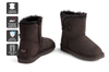 Outback Ugg Boots Mini Button - Premium Double Face Sheepskin (Chocolate, 5M / 6W US)