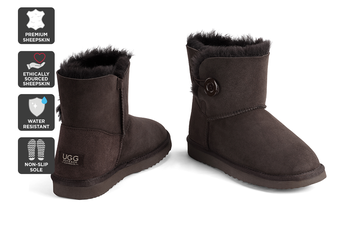 Outback Ugg Boots Mini Button - Premium Sheepskin (Chocolate)