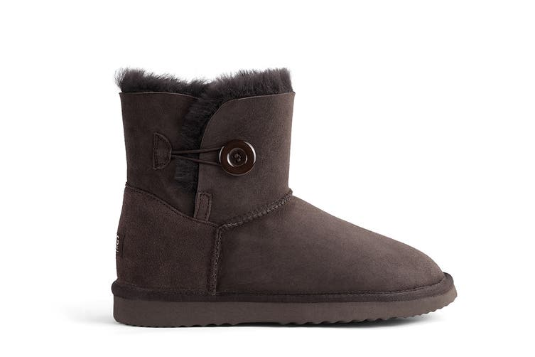 Outback Ugg Boots Mini Button - Premium Double Face Sheepskin (Chocolate, 10M / 11W US)