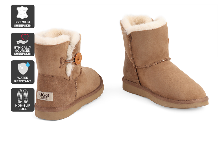 Outback Ugg Boots Mini Button - Premium Double Face Sheepskin (Chestnut, 9M / 10W US)