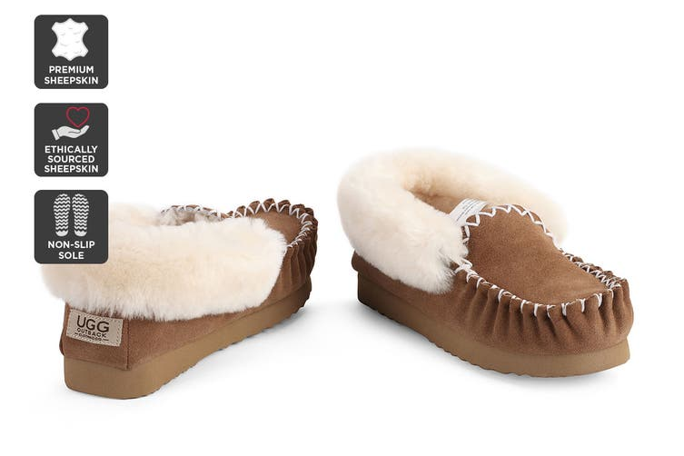 Outback Ugg Moccasins - Premium Sheepskin (Chestnut, Size 5M / 6W US)