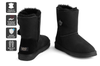Outback Ugg Boots Short Button - Premium Double Face Sheepskin (Black, 11M / 12W US)