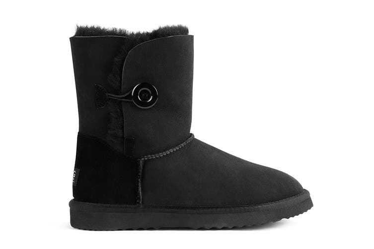 Outback Ugg Boots Short Button - Premium Double Face Sheepskin (Black, Size 4M / 5W US)