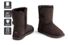 Outback Ugg Boots Short Button - Premium Double Face Sheepskin (Chocolate, 9M / 10W US)