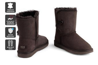 Outback Ugg Boots Short Button - Premium Double Face Sheepskin (Chocolate, 11M / 12W US)