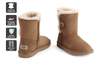 Outback Ugg Boots Short Button - Premium Double Face Sheepskin (Chestnut, 8M / 9W US)