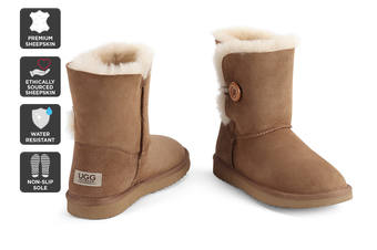 Outback Ugg Boots Short Button - Premium Sheepskin (Chestnut)