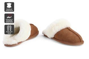 Outback Ugg Slippers - Premium Sheepskin (Chestnut, Size 8M / 9W US)