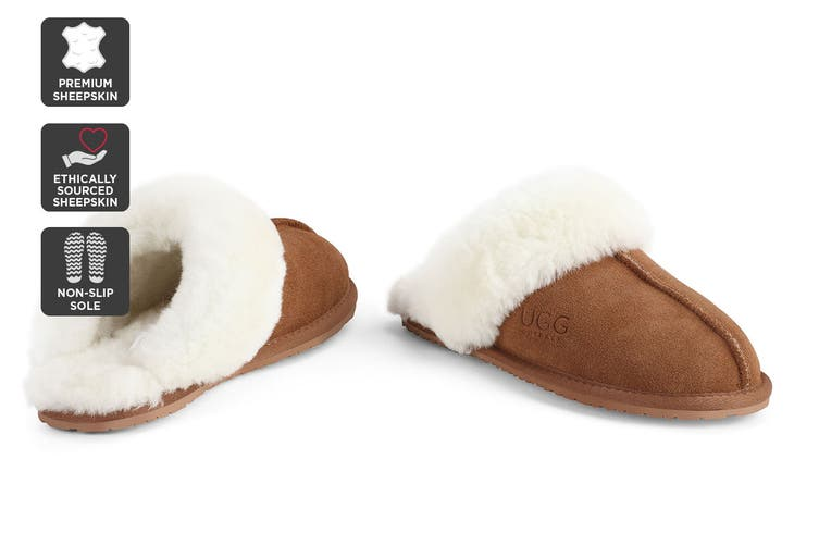Outback Ugg Slippers - Premium Sheepskin (Chestnut, Size 6M / 7W US)