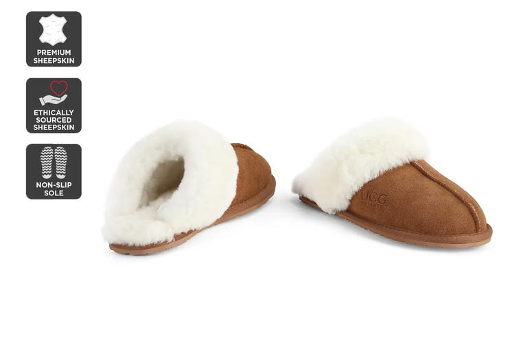 Outback Ugg Slippers - Premium Sheepskin (Chestnut, Size 8M / 9W US)