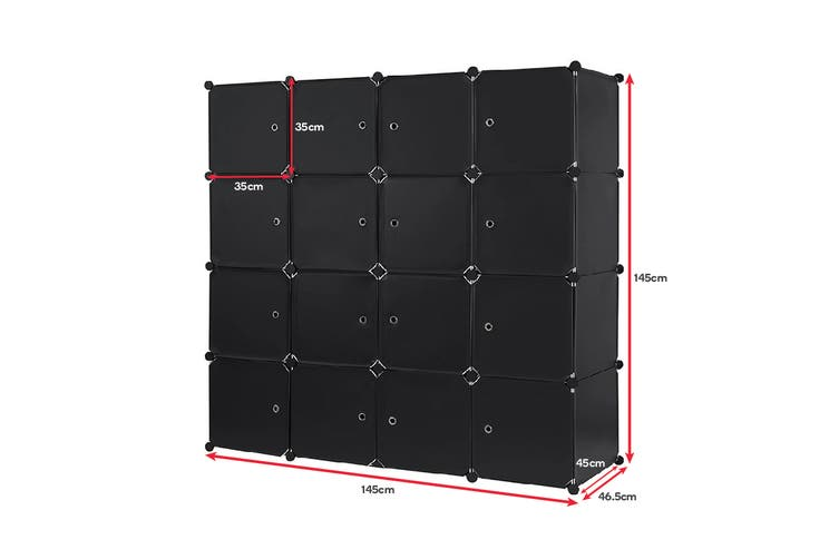 Ovela 16 Cube Modular Storage Organiser (Matte Black)