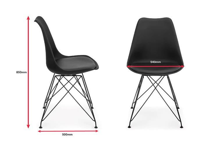 Shangri-La Set of 2 DSR Dining Chairs - Eames Replica (Black/Black)