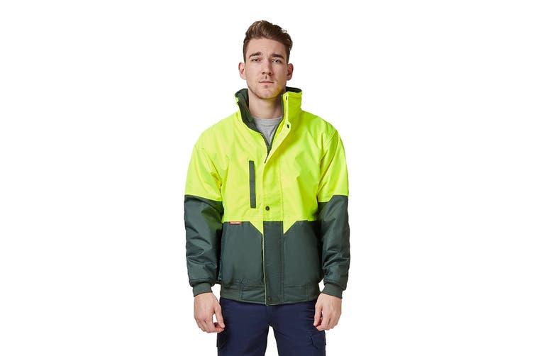 Hard Yakka Two Tone Quilted Pilot Jacket (Yellow/Green, Size XL)