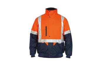 Hard Yakka Two Tone Quilted Flying Jacket (Orange/Navy, Size 2XL)