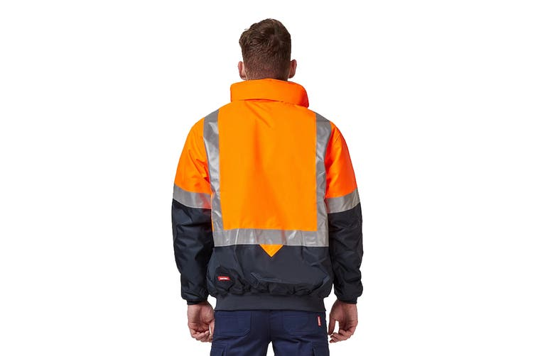 Hard Yakka Two Tone Quilted Flying Jacket (Orange/Navy, Size 3XL)