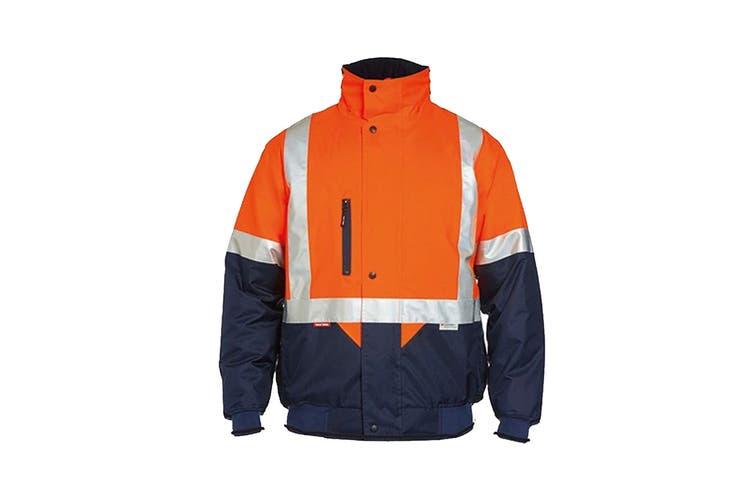 Hard Yakka Two Tone Quilted Flying Jacket (Orange/Navy, Size 5XL)