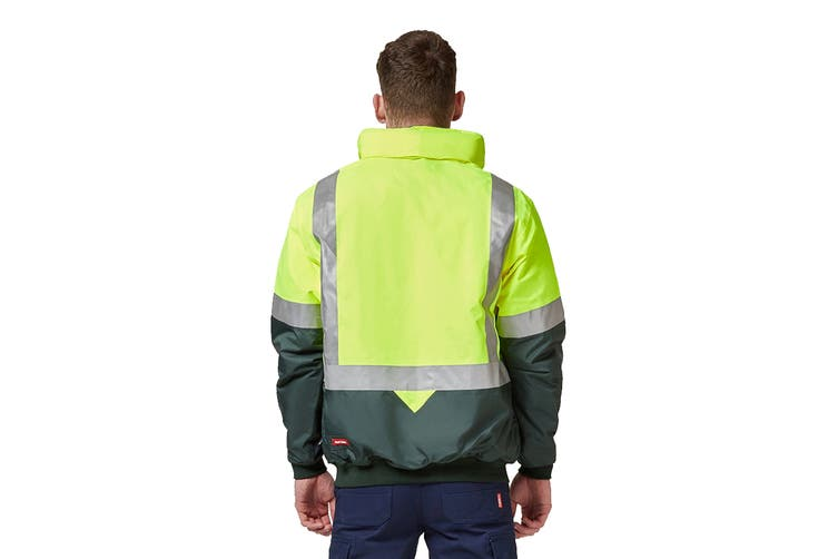 Hard Yakka Two Tone Quilted Flying Jacket (Yellow/Green, Size 3XL)