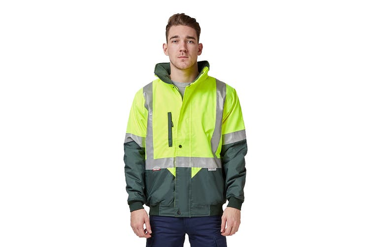 Hard Yakka Two Tone Quilted Flying Jacket (Yellow/Green, Size L)