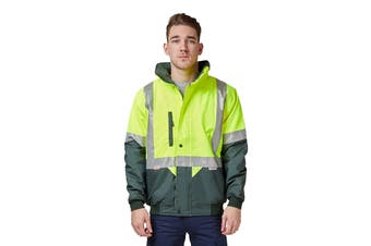 Hard Yakka Two Tone Quilted Flying Jacket (Yellow/Green, Size XL)