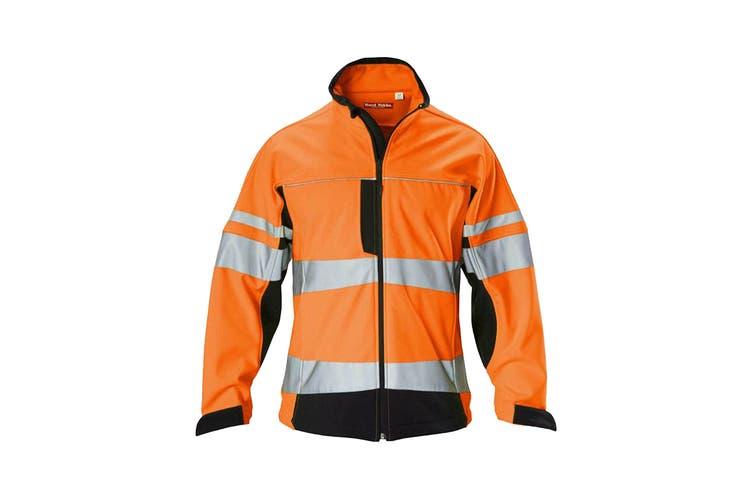 Hard Yakka Men's Hi Vis Two-Tone Long Sleeve Soft Shell Jacket (Orange/Navy, Size S)