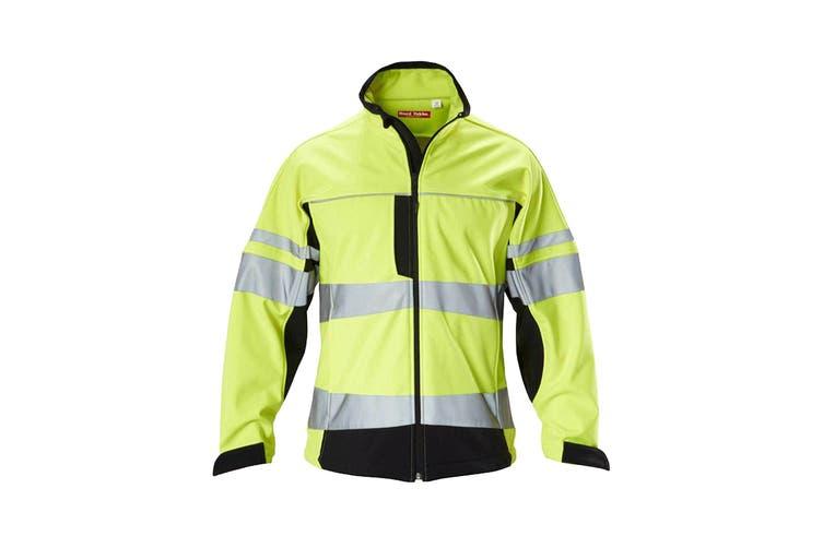 Hard Yakka Men's Hi Vis Two-Tone Long Sleeve Soft Shell Jacket (Yellow/Navy, Size 2XL)