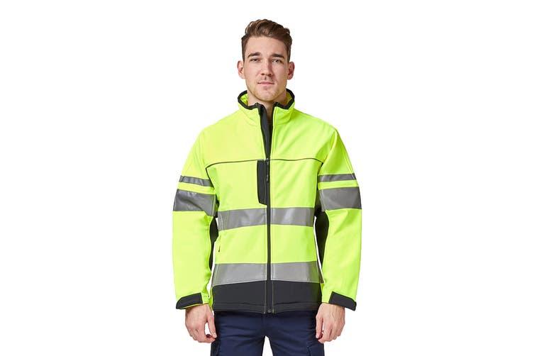Hard Yakka Men's Hi Vis Two-Tone Long Sleeve Soft Shell Jacket (Yellow/Navy, Size L)