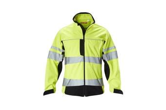 Hard Yakka Men's Hi Vis Two-Tone Long Sleeve Soft Shell Jacket (Yellow/Navy)