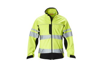 Hard Yakka Men's Hi Vis Two-Tone Long Sleeve Soft Shell Jacket (Yellow/Navy, Size XL)