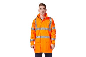 Hard Yakka High Vis Jacket with Reflective Tape (Orange, Size 8XL)