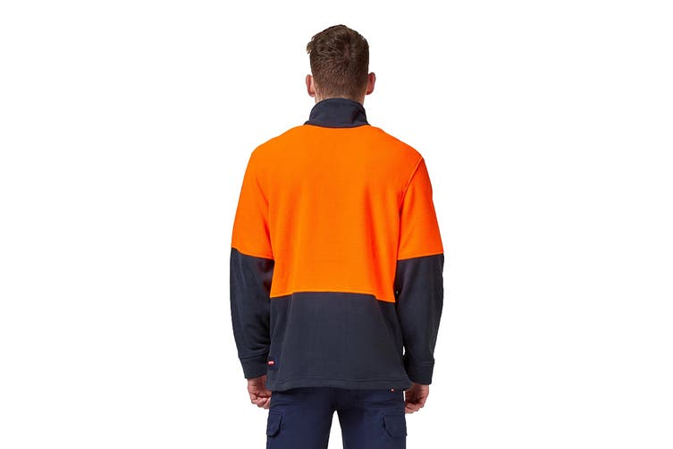Hard Yakka Hi Vis Two Tone Polar Fleece 1/4 Zip Jumper (Orange/Navy, Size 2XL)