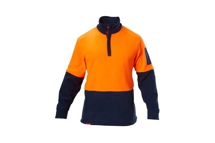 Hard Yakka Hi Vis Two Tone Polar Fleece 1/4 Zip Jumper (Orange/Navy, Size 3XL)